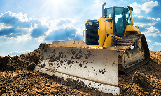 Dirt earth mover in operation
