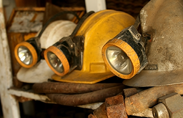 Mining equiment stored on a shelf