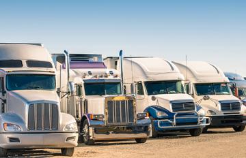 Fleet of trucks parked side by side