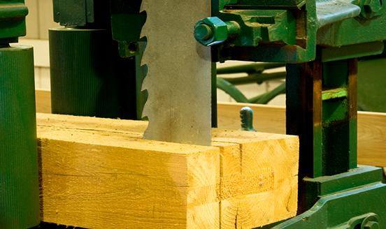 Sharp electric saw chopping through wood