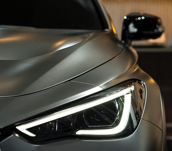 Silver car left headlight