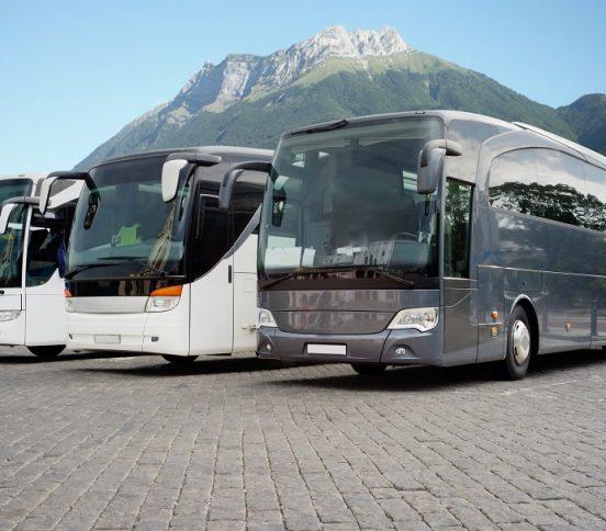 Three parked bus coaches in mountainous region