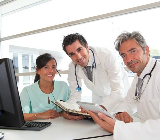 Medical doctors and receptionist