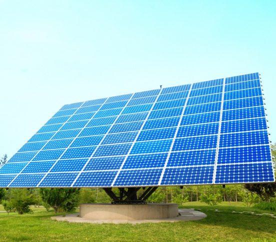 Solar panel absorbing sunlight