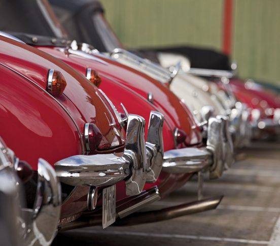 Vintage cars parked side by side