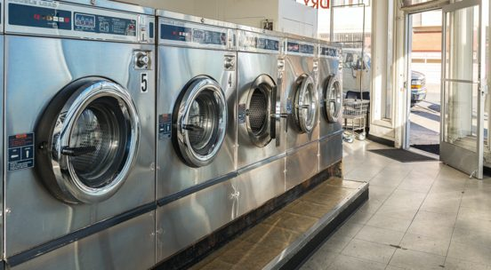 Washing machines in laundry facility